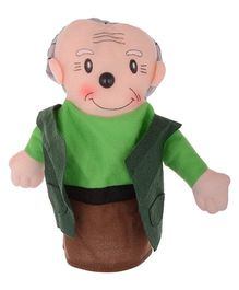 Twisha Hand Puppet Grandfather Shape Soft Toy Green - Height 22 cm