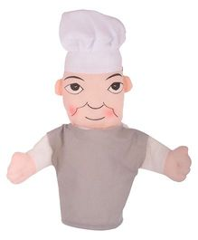 Twisha Hand Puppet Chef Shape Soft Toy Grey - Height 22 cm
