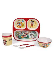 Servewell Feeding Set Mickey Mouse Print Pack of 5 - White Blue