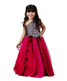 PinkCow Shimmery & Netted Dress With Flower - Pink