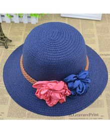 Lilpicks Couture Straw Hat With Ribbon Flower - Blue
