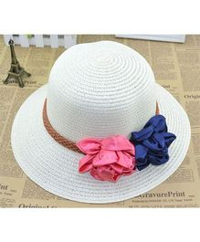 Lilpicks Couture Straw Hat With Ribbon Flower - White