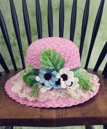 Lilpicks Couture Straw Hat With Tulle & Flowers - Pink