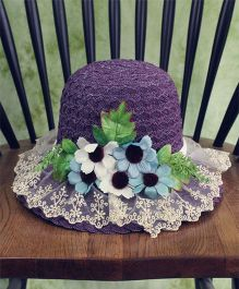 Lilpicks Couture Straw Hat With Tulle & Flowers - Purple