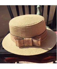 Lilpicks Couture Straw Hat With Bow - Brown