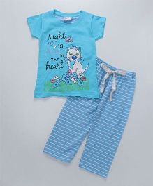 Eimoie Night Is Fun Quote Nightsuit - Sky Blue