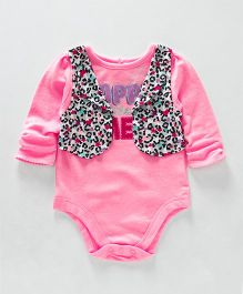 Eimoie Quote Onesie With Printed Attached Jacket - Pink