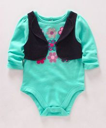 Eimoie Floral Print Onesie With Attached Jacket - Sea Green