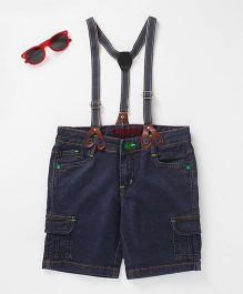 Tonyboy Denim Shorts With Suspenders - Indigo