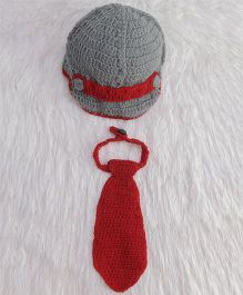 The Original Knit Diaper Set & Neck Tie - Red & Grey