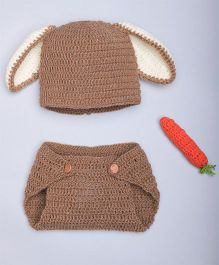 The Original Knit Bunny Diaper Set Crochet Carrot & Cap - Brown & Off White