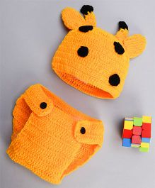 The Original Knit Deer Diaper Set & Cap - Yellow