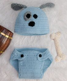 The Original Knit Puppy Diaper & Cap Set With Crochet Bone - Ice Blue