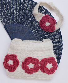 The Original Knit Flower Diaper & Headband - Off White