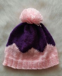 The Original Knit Double Shaded Pom Pom Cap - Pink & Purple