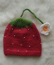 The Original Knit Pearl Embellished Strawberry Cap - Red