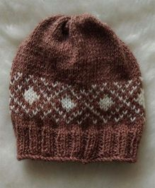 The Original Knit Patterned Cap - Light Brown & White
