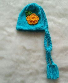 The Original Knit Braided Cap With Big Flower - Blue