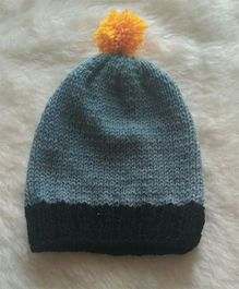 The Original Knit Black Bodered Cap With Yellow Pom Pom - Grey & Brown