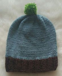 The Original Knit Brown Cap With Green Pom Pom - Grey & Black