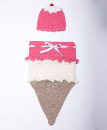 The Original Knit Ice Cream Sleeping Bag & Cap - Pink White & Fawn