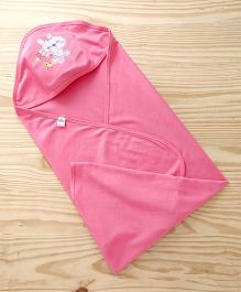 Simply Hooded Wrapper Bunny & Floral Embroidery - Pink