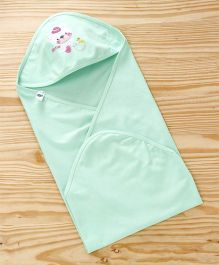 Simply Hooded Wrapper Bunny & Floral Embroidery - Light Green