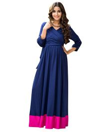 MOMZJOY Front Wrap Maternity & Nursing Dress - Blue