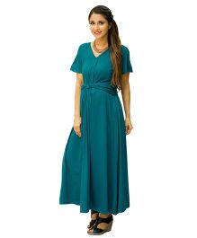MOMZJOY Emerald Front Knot Lycra Maternity Dress - Teal