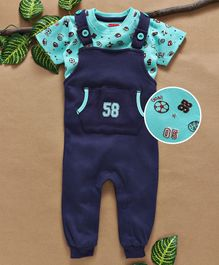 Babyhug Full length Dungaree Romper With Printed Tee - Navy Blue