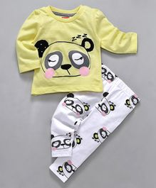 Babyhug Full Sleeves Night Suit Teddy Face Print - Yellow White