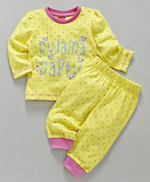 Babyhug Full Sleeves Night Suit Party Print - Yellow