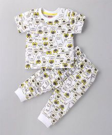 Babyhug Half Sleeves Printed Night Suit - White