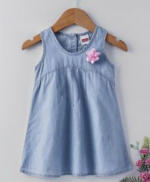 Babyhug Sleeveless Denim Frock With Flower Corsage - Light Blue