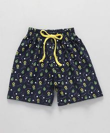 Fido Shorts With Drawstring Floral Print - Navy