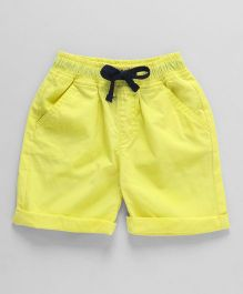 Cucumber Solid Colour Shorts With Drawstring - Green