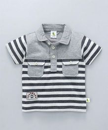 Cucumber Half Sleeves T-Shirt Stripes Print - Grey