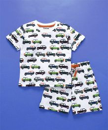 Cucumber Half Sleeves Night Suit Car Print - White