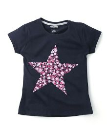 Cucumber Short Sleeves Top Star Print - Black