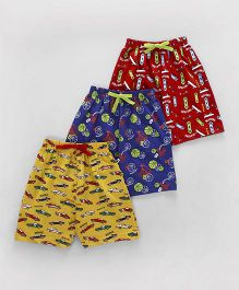 Cucumber Printed Shorts Pack of 3 - Yellow Blue Red