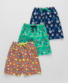 Cucumber Printed Shorts Pack of 3 - Blue Green Peach