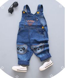 Superfie Bear Printed Long Dungaree - Blue