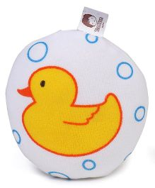 Bath Sponge Duck Print - White & Yellow