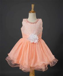 Bluebell Sleeveless Party Wear Frock With Floral Bodice - Peach