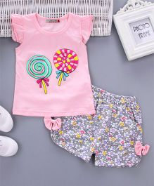 Wonderland Lollypop Printed Cap Sleeves Top With Printed Shorts Set - Light Pink