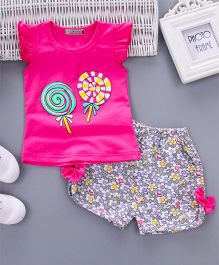 Wonderland Lollypop Printed Cap Sleeves Top With Printed Shorts Set - Dark Pink
