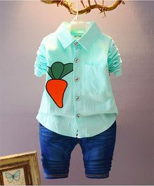 Wonderland Carrot Printed Shirt & Denim Set - Green