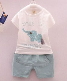 Wonderland Elephant Applique T-Shirt & Shorts Set - Blue