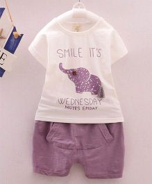 Wonderland Elephant Applique T-Shirt & Shorts Set - Purple