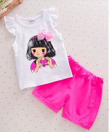 Wonderland Cute Girl Cap Sleeves T-Shirt & Shorts - Dark Pink